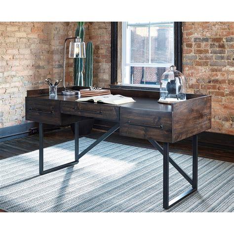 modern rusticindustrial home office desk  steel base