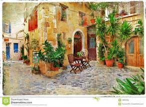 mediterranean house plans with courtyard streets of greece crete stock photography image