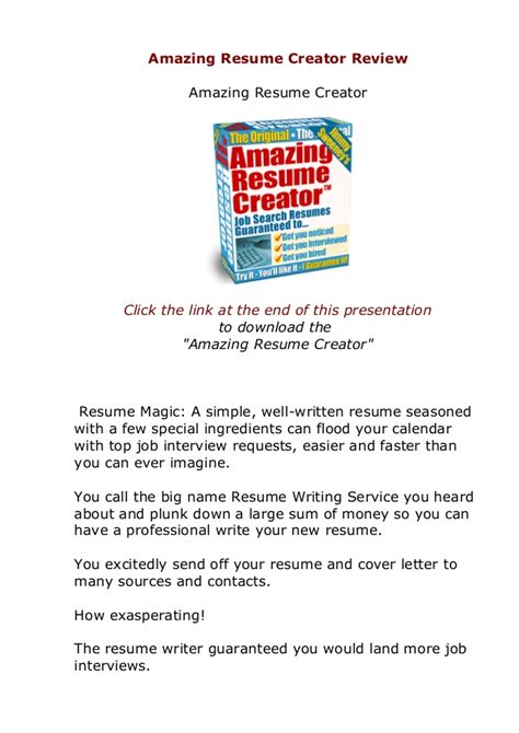 Amazing Resume Creator does amazing resume creator actually work