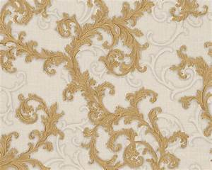 Wallpaper baroque gold cream as creation versace 96231 4 for Balkon teppich mit vintage tapete gold