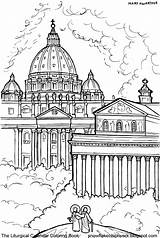 Holy Coloring Pages Peter Catholic St Paul December Basilicas Saint Rome Sketches Line Drawings Done Francis Xavier Dedication sketch template