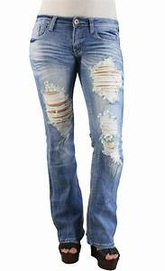 MACHINE JEANS Destroyed Distressed Ripped Light Wash Denim Jeans BOOT CUT