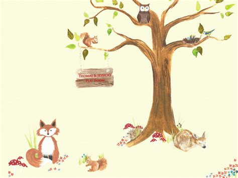 Woodland Themed Wallpaper Mural  Rachie B Bespoke Wallpaper
