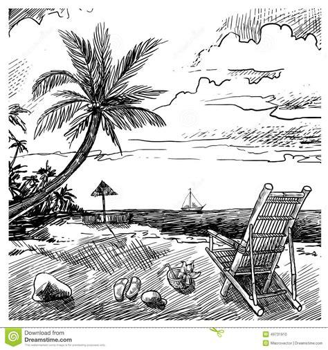 summer beach sketch stock vector illustration  holiday
