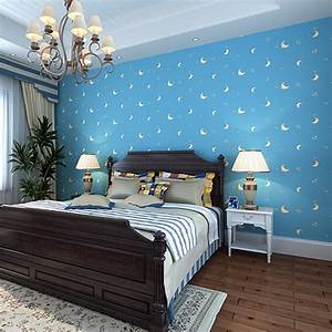 Sky blue color moon face romantic children bedroom non for Sky blue boys room