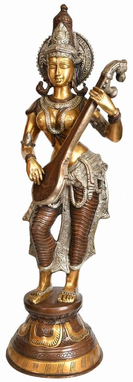 Saraswati Standing Goddess Veena Strums Sculptures Exoticindia