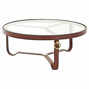 eichholtz lorain rustic sienna brown leather gold round With leather and glass coffee table