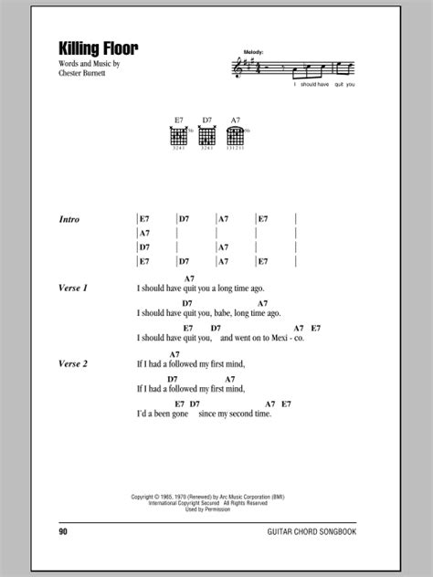 killing floor sheet music by howlin wolf lyrics chords