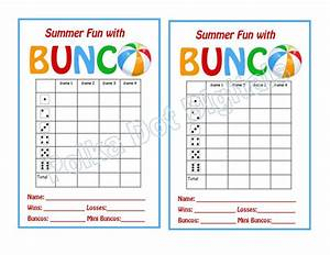 buy 2 get 1 free summer beach bunco score card sheet with With free bunco scorecard template