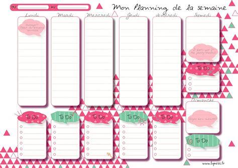 Planning de menus vierges pour repas hebdomadaires. Semainier, planning semaine PDF - Agenda hebdomadaire à ...
