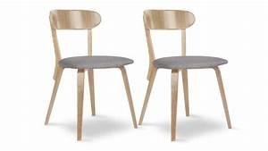 Chaise Bois Vintage : lot de 2 chaises tiry bois vintage avec assise tissu mobilier moss ~ Teatrodelosmanantiales.com Idées de Décoration