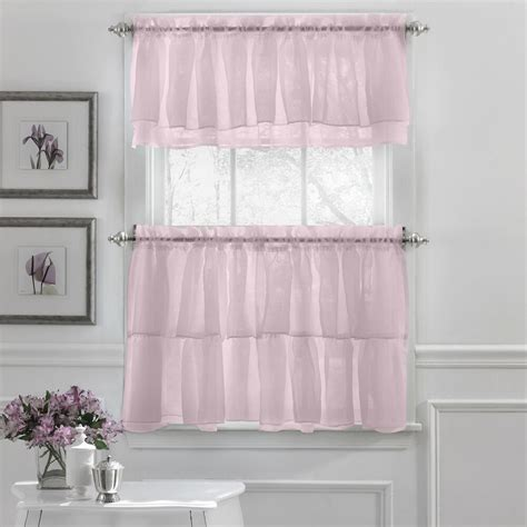 White And Blue Window Valances by Crushed Voile Ruffle Kitchen Window Curtain Tiers Or