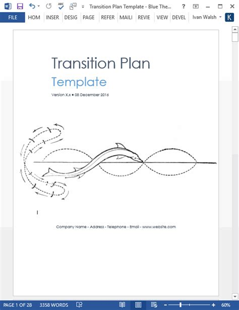 transition plan template ms word excels templates