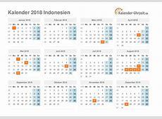 Feiertage 2018 Indonesien Kalender & Übersicht