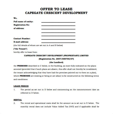 office lease agreement templates  ms word