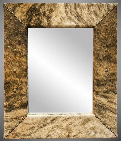 Cowhide Mirror by Custom Light Brindle Cowhide Mirror By Cowhide Mirrors