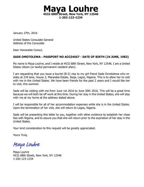 invitation letter   visa brittney taylor