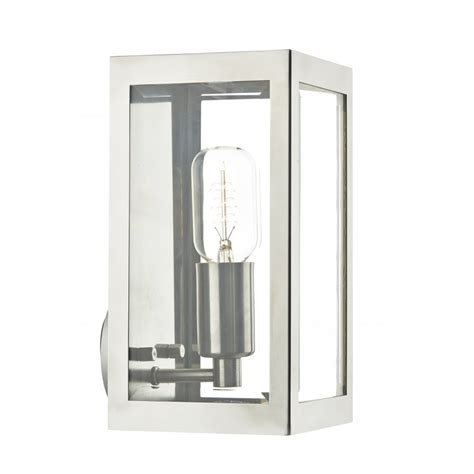 chrome ip44 box shaped wall lantern for using indoor or