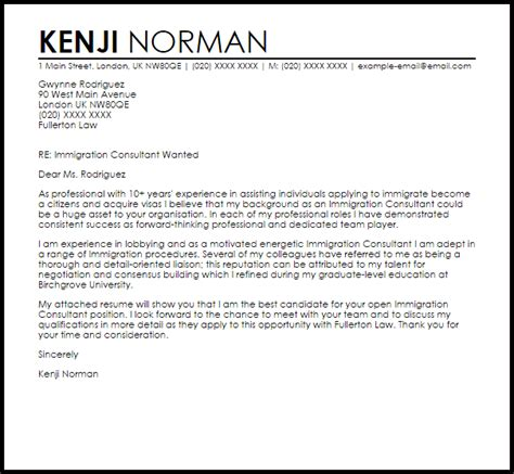 write letter immigration officer   company