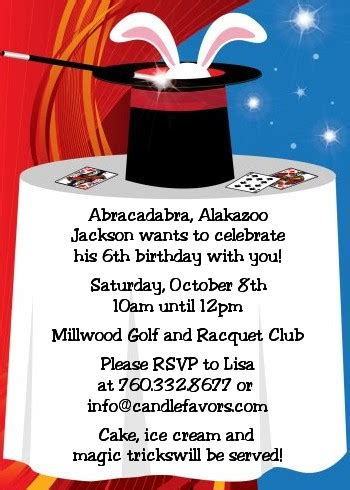 magic birthday party invitations candles  favors