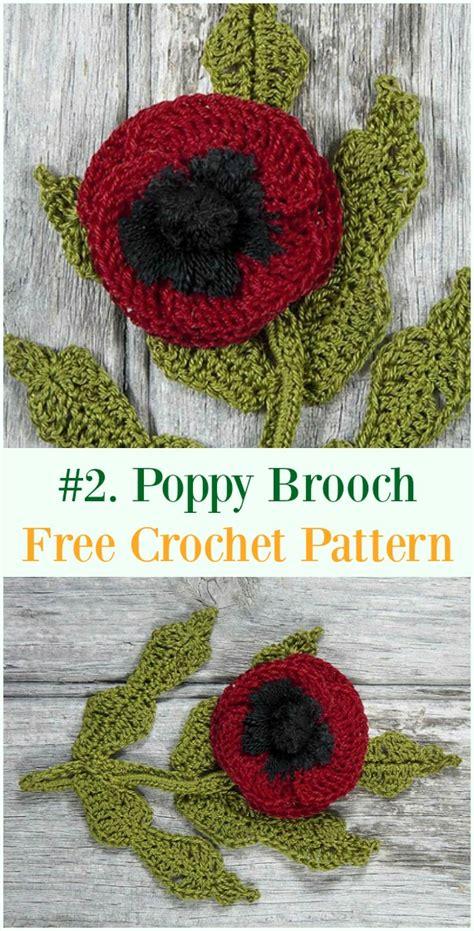 crochet poppy flower  patterns