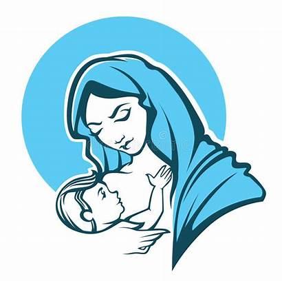 Mary Virgin Vector Illustration Maria Holy Illustrations