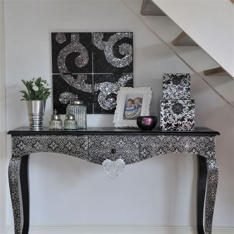 silver console table in hallway ideal home