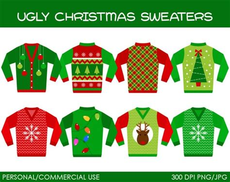 ugly christmas sweaters clipart digital clip art