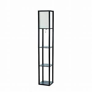 Simple designs home lf1014 gry floor lamp organizer for Gray shelf floor lamp