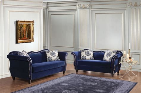 Zaffiro Royal Blue Living Room Set, Sm2231-sf, Furniture