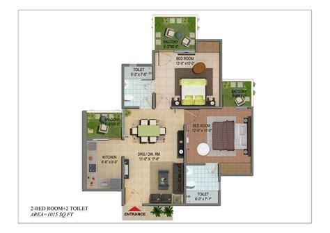 Shivalik Homes 2bhk 2toilet 1015 Sqr Ft Floor Plan