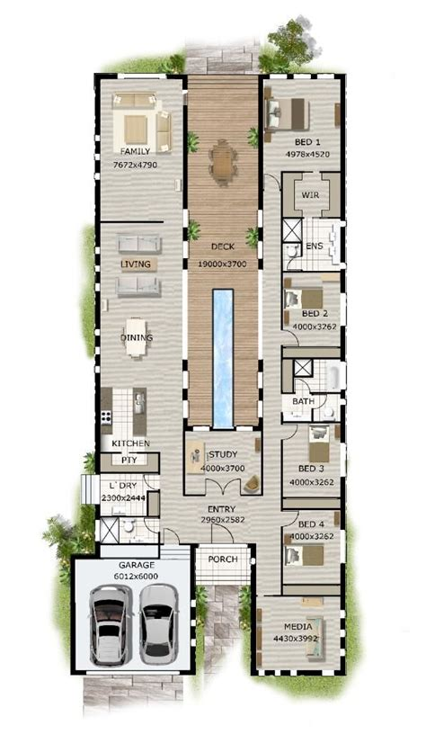 Modern House Layout by Narrow House Plans On Duplex House Plans