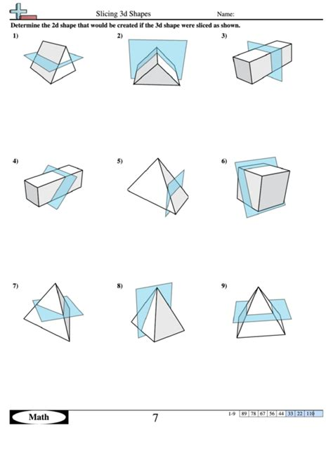 slicing  shapes geometry worksheet  answers