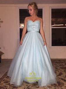 Light Blue Strapless Beaded Floor Length Ball Gown Prom
