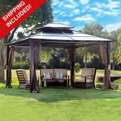 Patio Furniture Covers At Walmart by 10 X 12 Hardtop Canopy Gazebo W Mosquito Netting