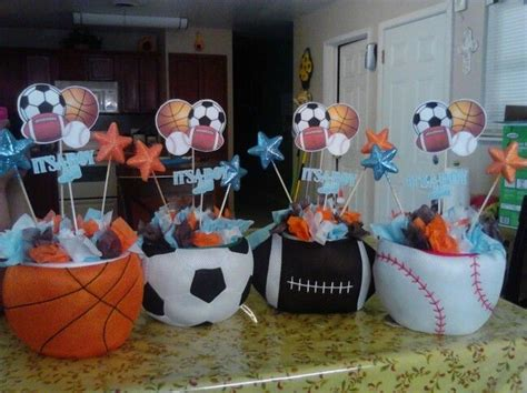 sports baby shower table centerpieces  sport baby