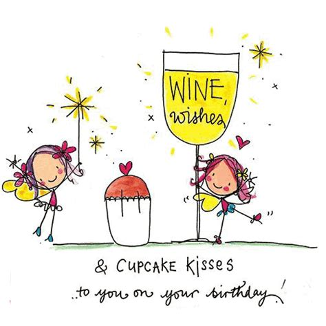 Happy Birthday Friend Clipart Wine Wishes And Cupcake Kisses Free Happy Birthday Ecards