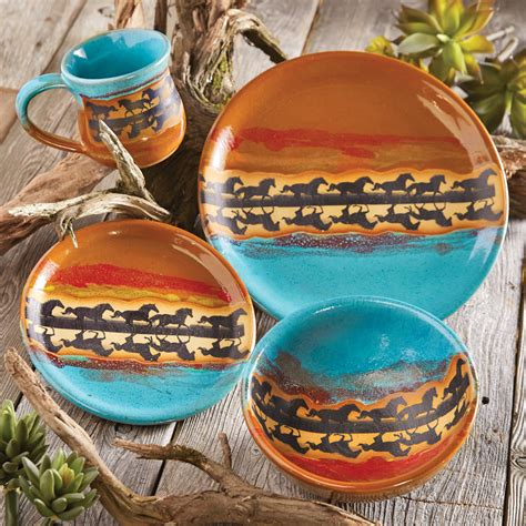 horse reflection pottery dinnerware  pcs