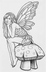 Coloring Fairies Printable Fairy Faerie Colouring Adult Drawings Adults Outline Colour Drawing Pretty Elf Printables Draw Pixies Sheet Mushroom Fairie sketch template