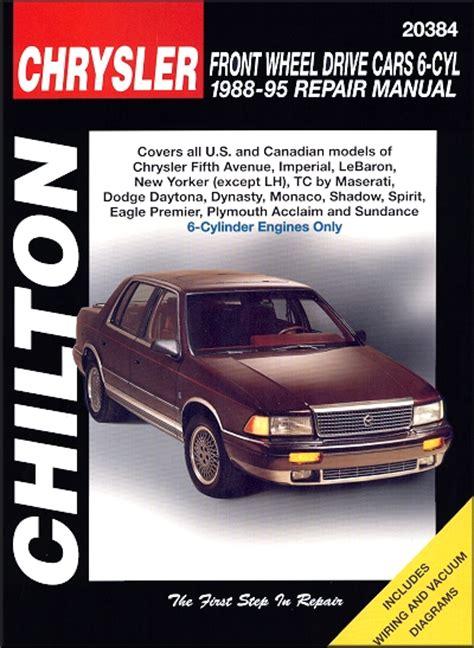 chilton car manuals free download 1992 dodge spirit transmission control chrysler dodge eagle plymouth repair manual 1988 1995 chilton