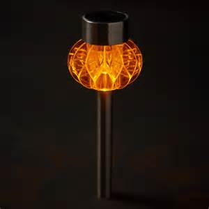 2 orange led stainless steel solar stake lights