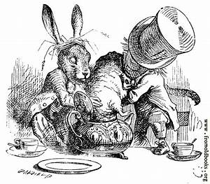 Mad Hatter and March Hare dunking the Dormouse