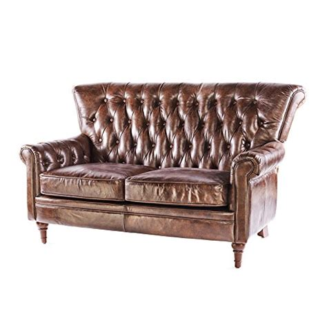 Phoenixarts Vintage Chesterfield Sofa 2 Sitzer Ledersofa