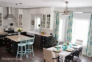 A black, white and turquoise DIY kitchen design with Ikea