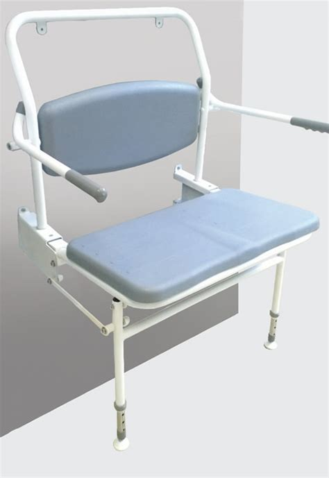 wide padded shower seat with back arms