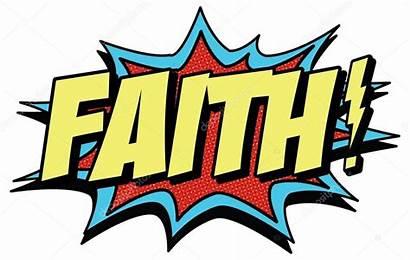 Faith Word Comic Vector Illustration Depositphotos