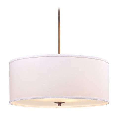 large bronze drum pendant light with white shade ebay