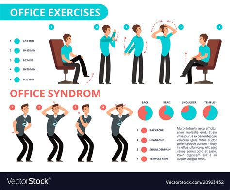 Office Desk Exercises by Employee Doing Office Exercises Desk Vector Image