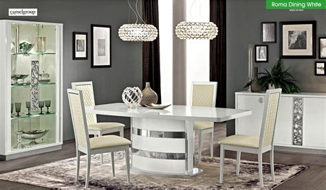 roma dining room set  white lacquer finish   italy