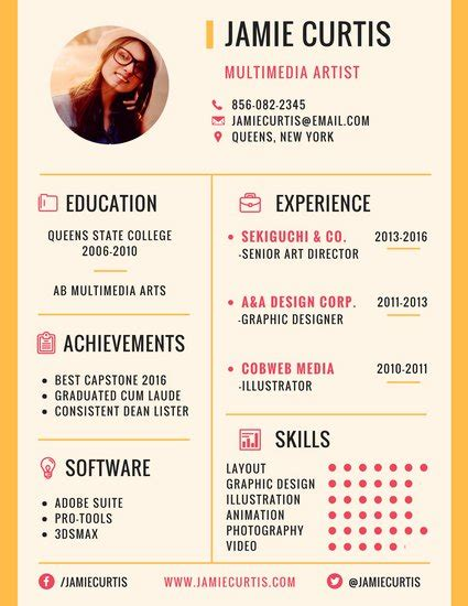 Artist Resume by Customize 979 Resume Templates Canva
